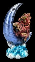 Dragon on Moon Figurine - Crescent Creature - red