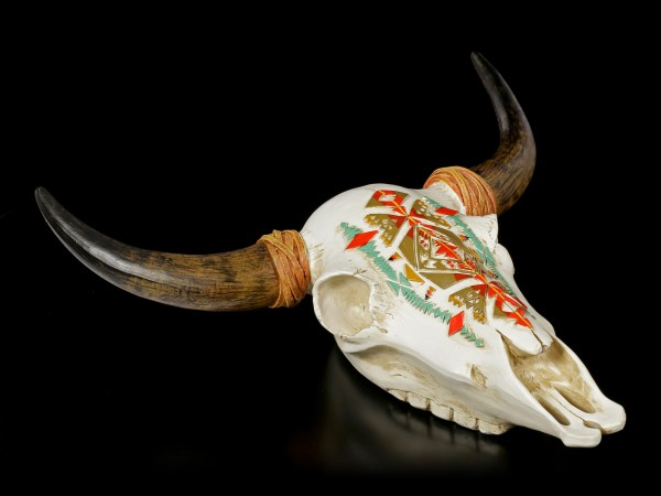 Wall Plaque Bull Skull - Native Indian Patterns