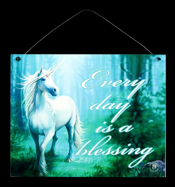 Vorschau: Forest Unicorn Metall Schild mit Einhorn - Every day is a blessing