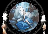 Großer Traumfänger mit Einhorn - Blue Moon