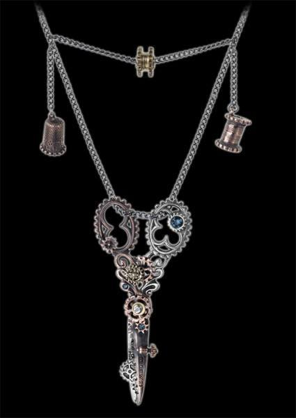 Dissection Shears - Alchemy Steampunk Necklace