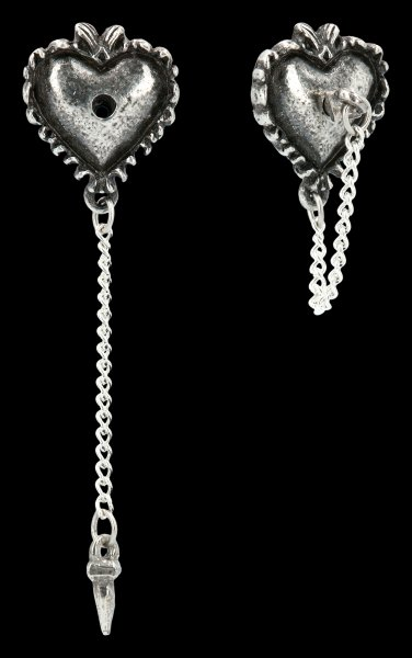 Alchemy Gothic Ear Studs - Witches Heart