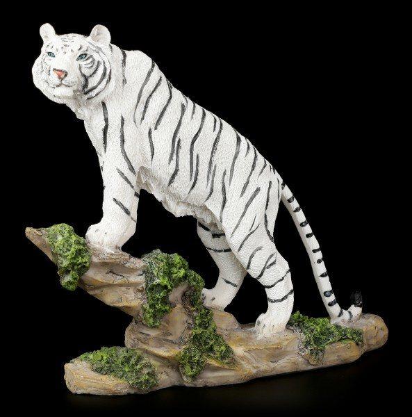 Weiße Tiger Figur - Stolz auf dem Felsen