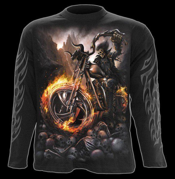 Langarmshirt - Skelett Motorrad - Wheels of Fire