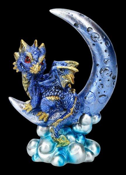 Drache auf Mond Figur - Crescent Creature - blau