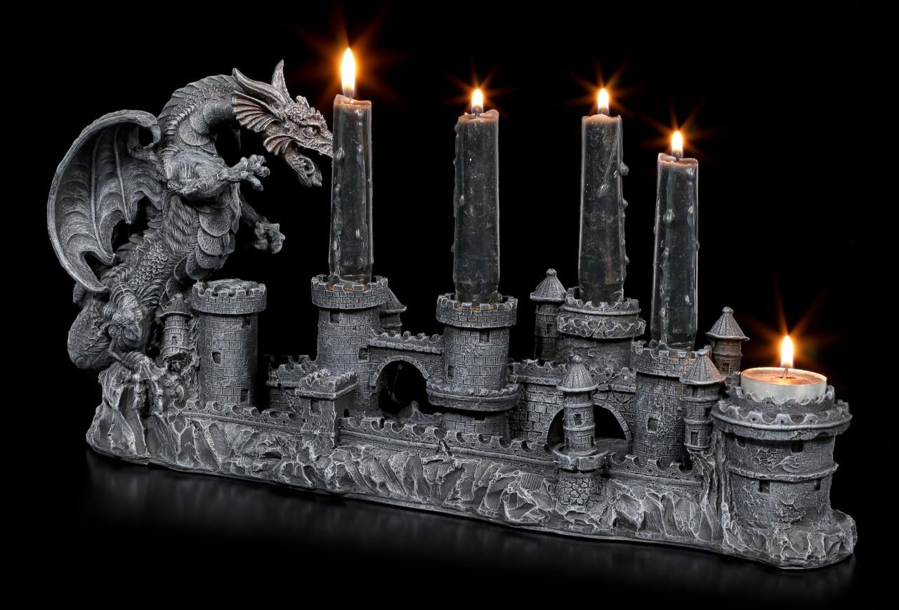 Zwei Drachen auf Ruine Figur Fantasy Kerzenhalter Drachen Teelichtlhalter
