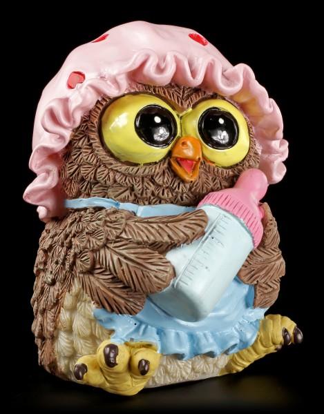 Lustige Eulen Figur - Baby mit Fläschchen