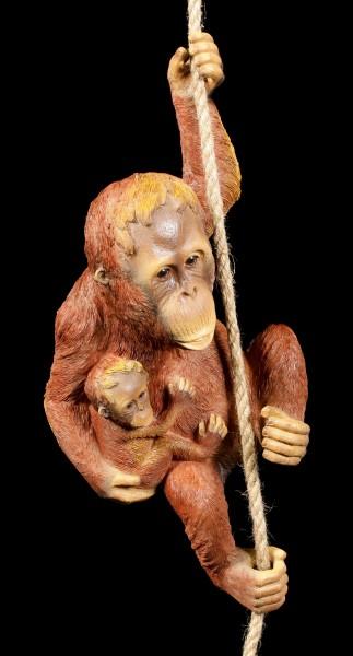 Garden Figurine - Orang-Utan with Child on Rope