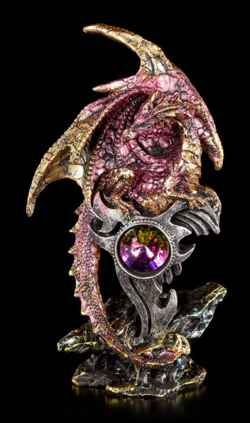 Red Dragon Figurine - With Sword and Gemstone