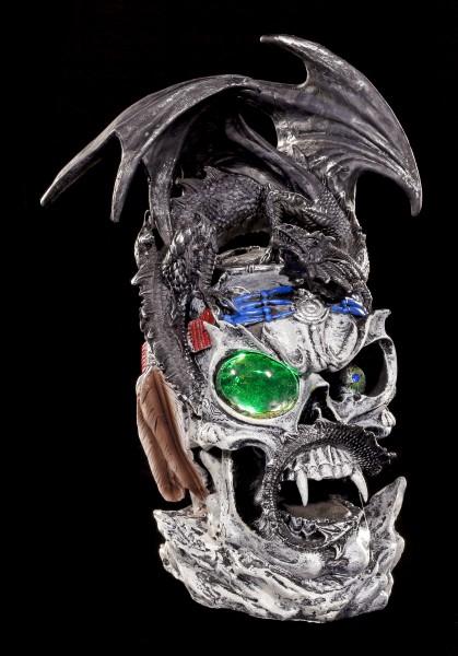 Drachen Figur auf Totenkopf mit LED