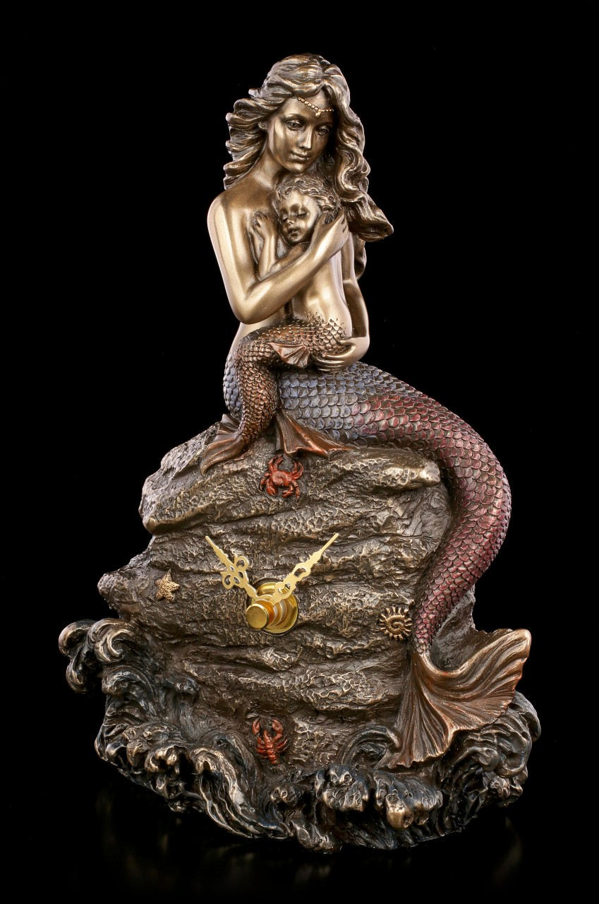 Table Clock - Mermaid Figurine with Child