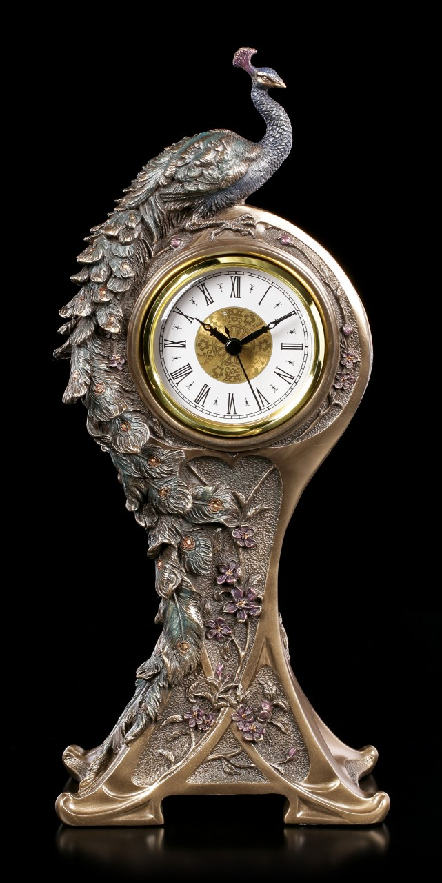 Art Nouveau Table Clock - Peacock