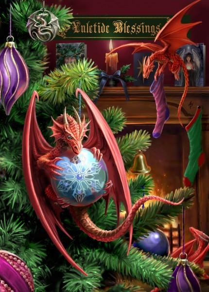 Fantasy Christmas Card Dragon - Little Helpers
