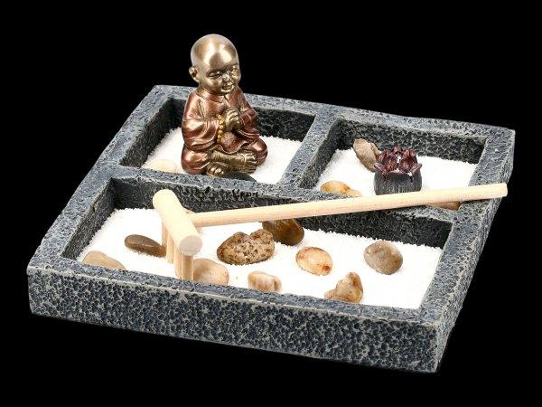 Zen Garden with Monk Figurine