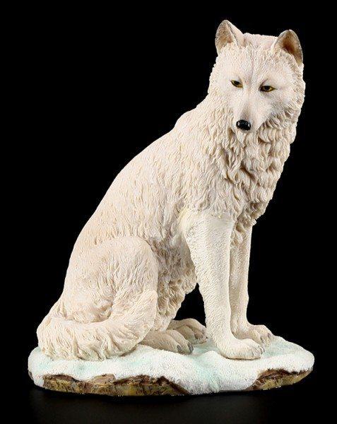 Sitzende Wolf Figur - Weiß