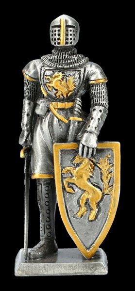 Zinn Ritter Figur mit Schwert und Pferdeschild