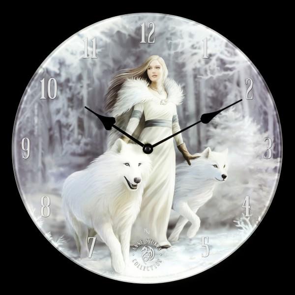 Glas Wanduhr mit Wölfen - Winter Guardians