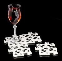 Alchemy Jigsaw Coaster Set - Black Skull Cherries