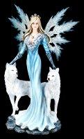Große Elfen Figur - Kimama mit zwei weißen Wölfen
