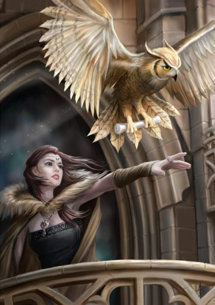Fantasy Grußkarte Eule - Owl Messenger
