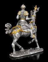 Pewter Knight Figurine on Horse with Axe