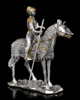 Pewter Knight Figurine on Horse with Halberd