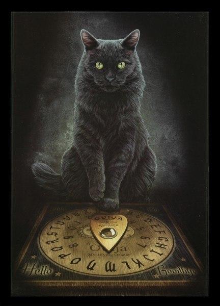 Mittleres Glas Bild mit Katze - His Master's Voice