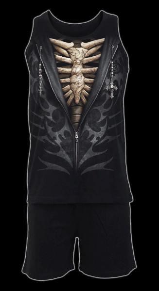 Herren Pyjama Set 4 tlg. Gothic - Bone Rips