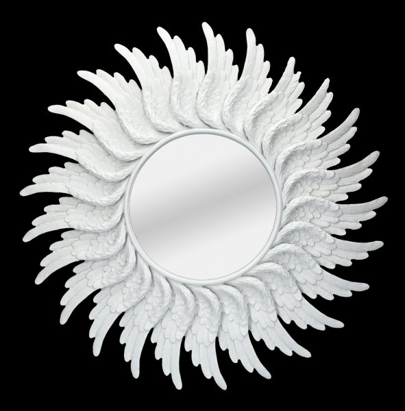 Round Wall Mirror - Angel Wings white