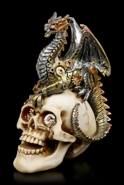 Steampunk Drache auf Totenkopf - Dragon's Grasp
