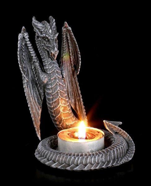 Teelichthalter - geflügelte Drachenschlange