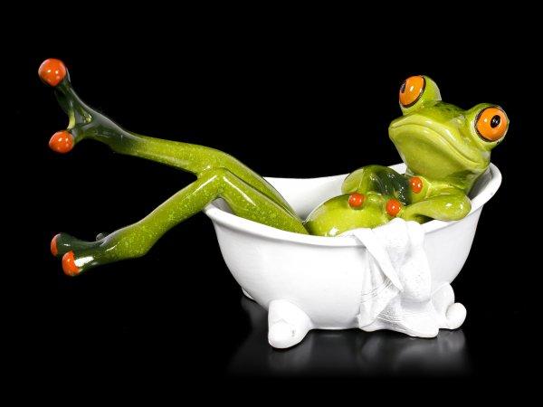 Funny Frog Figurine - Taking a Bath