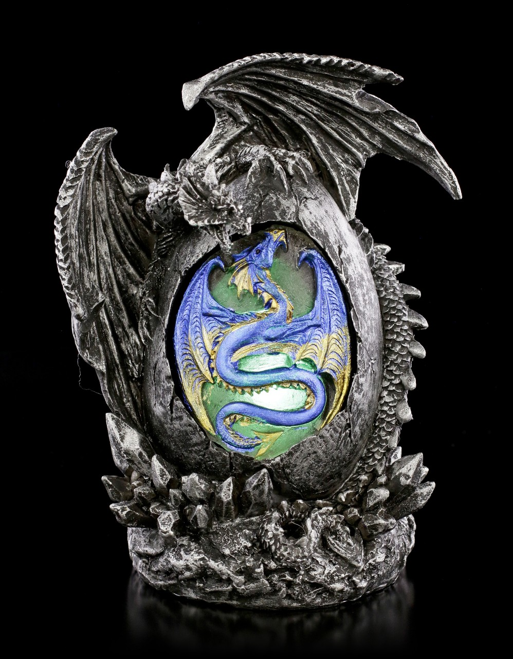 Dragon Figurine - Sehab on Egg with LED