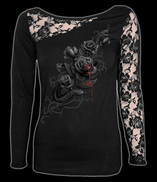 Netz Langarmshirt - Gothic Rose - Fatal Attraction