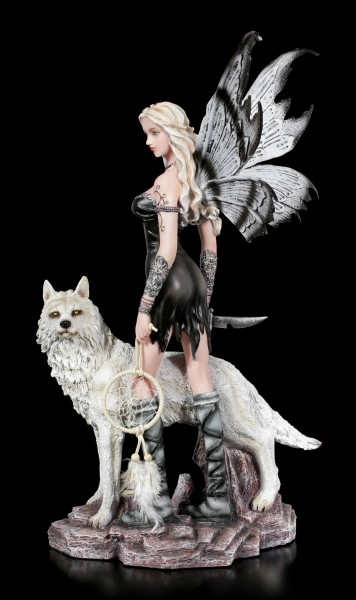 Fairy Figurine - Aislin with Dreamcatcher and Wolf