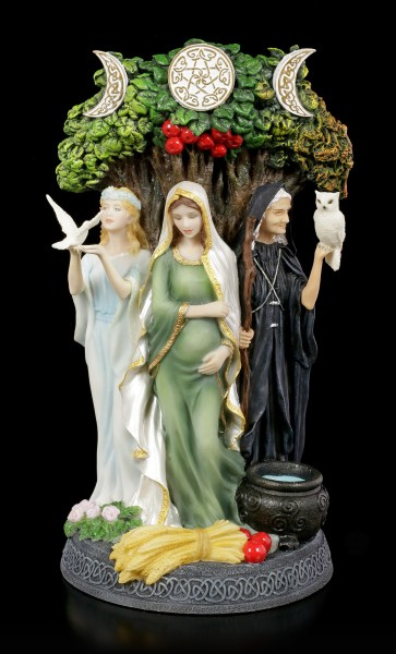 Celtic Trinity Goddess Figurine - Old, Mother & Girl - colored