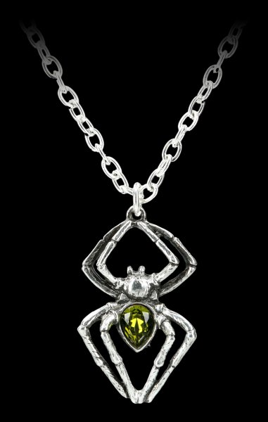 Alchemy Gothic Necklace - Emerald Spiderling