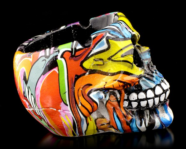 Small Colourful Skull Ashtray - Blue Graffiti