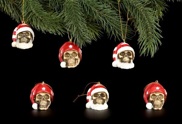 Christmas Tree Decorations - Santa Skulls Mix - Set of 6