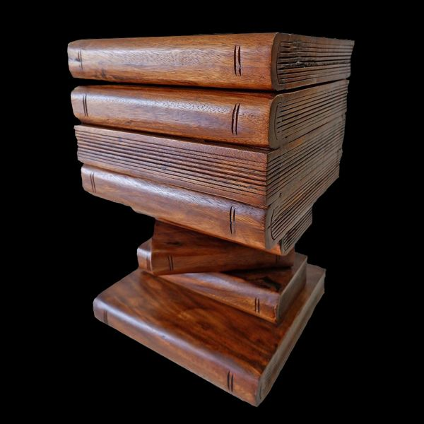 Wooden Carved Book Trunk Stool