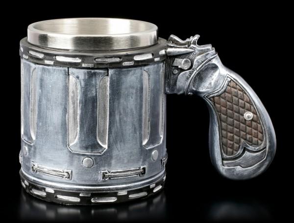 Krug mit Pistolengriff - Revolver Trommel