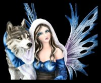 Fairy Figurine kneels with Wolf