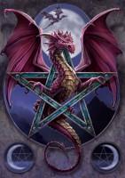 Drachen Grußkarte mit Pentagramm - Lunar Magic