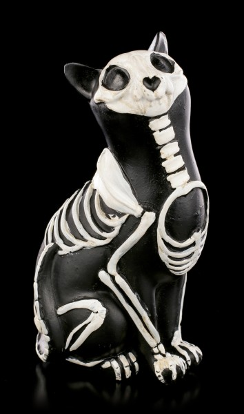Black Skeleton Cat Figurine - Day of the Dead