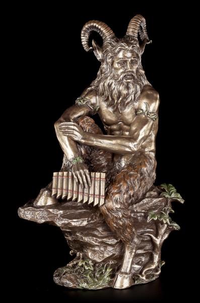 Pan Figur - Auf Stein sitzend mit Pan Flöte