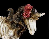 Skelett Figur - Einhorn mit Rosen in Mähne