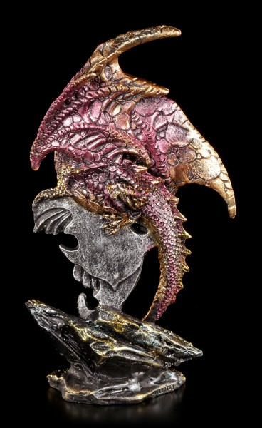 Rote Drachen Figur - Mit Schwert und Schmuckstein