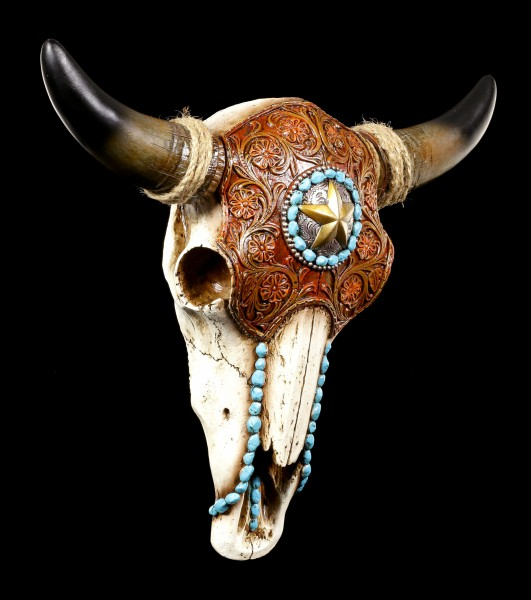 Wall Ornament - Cattle Skull with Indian Decoration