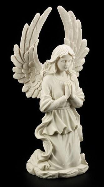 Gartenfigur - Kniender Engel weiss