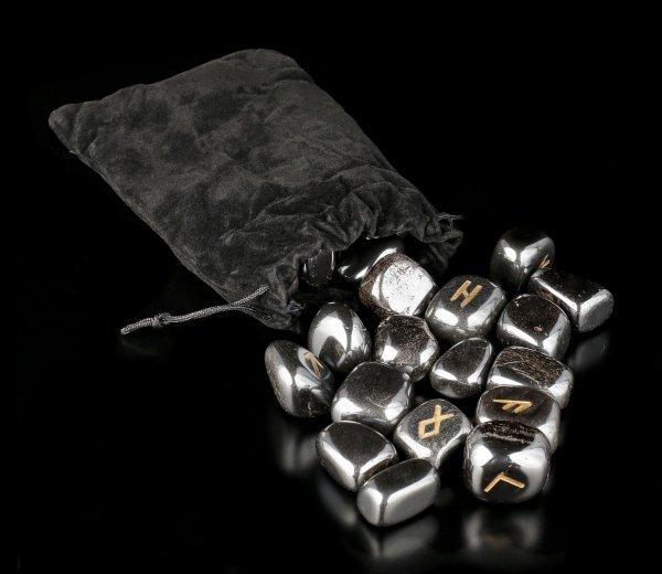 Runes of black Haematite